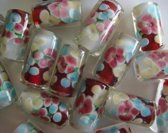 10 Red-white cylindrical floral lampwork glass beads