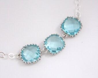 Blue Bracelet, Aquamarine Bracelet, Aqua Bracelet, Glass, Sterling Silver, Wedding Jewelry, Bridal, Bridesmaids Bracelet, Bridesmaid Gifts
