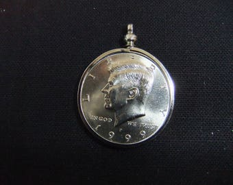 Coin Bezel Kennedy US Half Dollar Screw Top Bezel  Includes Proof US Kennedy Half Dollar Coin - Brilliant Shine - Necklace - Pendant