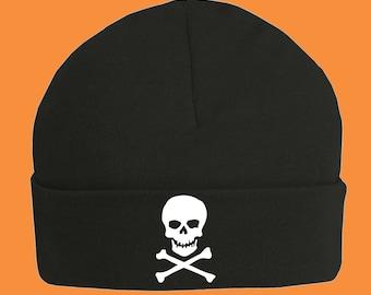 Black Skull and Crossbones Baby Hat