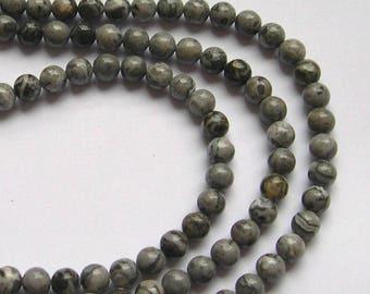 10 round beads 6 mm gray Jasper stone