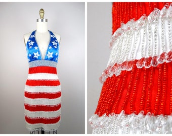 Pop Art USA Flag Fringe Beaded Dress // Red White and Blue Retro Stars and Stripes Fringed Mini Dress US 2