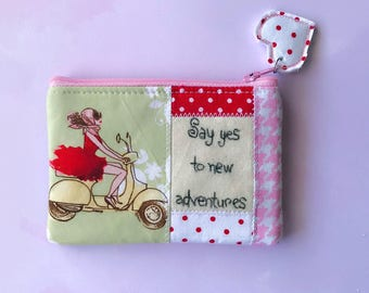 Inspirational eco friendly patchwork zipper pouch, zippered wallet, coin pouch, inspirational pouch