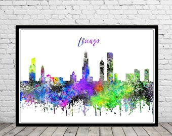 Chicago, Chicago skyline, Chicago Illinois, Illinois, Office Art, watercolor Chicago, Chicago print, watercolor City Print