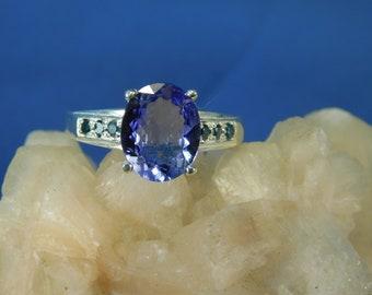 2.69 ct. Oval Tanzanite and Blue Diamond Ring