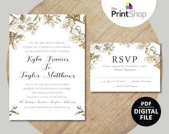 Digital File - Kyla's Wedding Invitation & RSVP Template