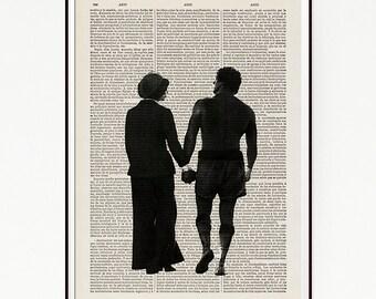 Rocky Balboa Classic Movie Sports Drama Poster Print Illustration Art Upcycled Decor Book Dictionary Wall Sylvester Stallone Box Seventies