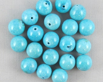 Blue Magnesite 10mm Round Beads - 20 pieces #D14-15
