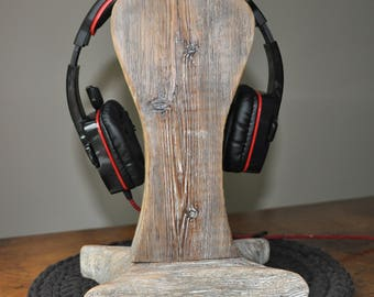 Reclaimed Wood Headphone Stand #2, Wooden Headphone Holder, Drift Wood Headphone Stand, Rustic Headphone Stand  by www.art-tarkowski.com