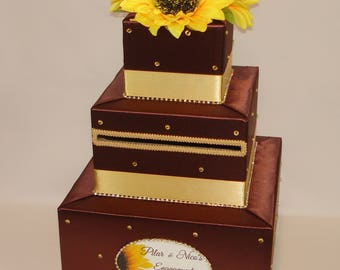 Fall theme Card Box with Sunflowers