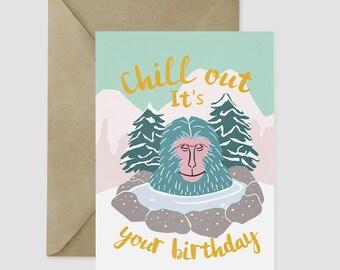 Happy Birthday bathing monkey greeting card