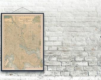 Baltimore Maryland 1893 Map Fine Art Print