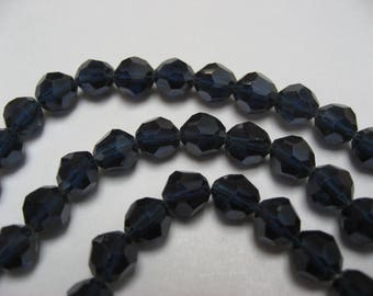 Crystal pierced pearls with facets, marine blue, 6 mm (x 120)