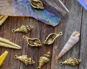 Antique Gold Trumpet Shell Charms, 10x21mm, 2pcs / Nunn Designs, Shell Pendants, Nautical, Beach Charms, Sea Shell, Jewelry Supplies