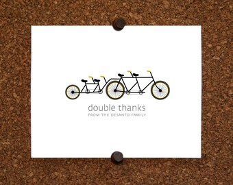 Bicycle Twins Baby Thank You Cards. Custom Twin Shower Thank You Cards. Twin Thank Yous. Bicycle Built for Four (Set of 10)