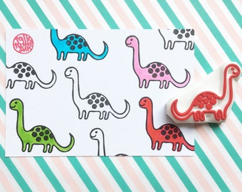 dinosaur rubber stamp | dino stamp | apatosaurus stamp | diy party favors invites | craft gift for kids | hand carved by talktothesun