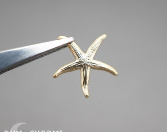 0521 - Pendant Connector, Matte Gold Plated, Realistic 3D Starfish Charm Pendant, 2 Pieces