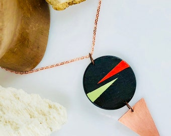 Wood Geometric & Copper Triangle Necklace