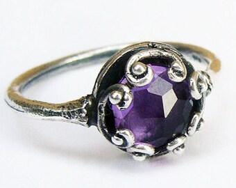 Purple Amethyst Ring, Purple Solitaire Ring, Silver Amethyst Ring, Purple Gemstone Ring, Israeli Jewelry, Purple Stone Ring,