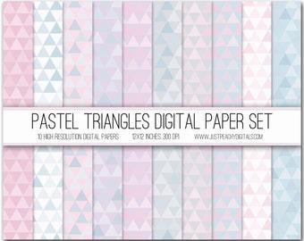 pastel triangles digital scrapbook paper