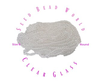 15% Off Crystal Clear Size 8 Seed Bead  size 8/0