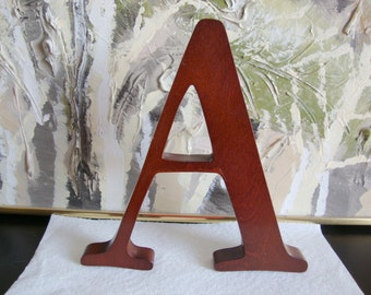 Large Wood Letter Stained Mahogany Or Cherry Like Color , A, Y, E, E, L available, Wall Decor