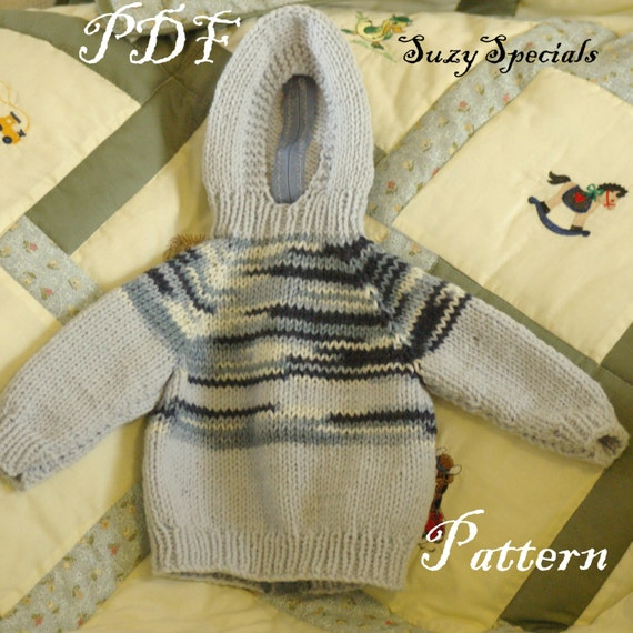 Pattern for knitted hooded baby sweater with back zipper pdf dt1010fo