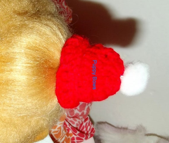Puppy Bows ~ small Christmas cap hat pet hair bow barrette or latex bands red dog beanie (fb7)