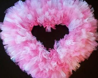 Heart Wreath with Pink and White Sparkle Tulle