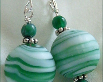 Swirls and Swirls of Green Earrings -- Green and White Swirled Lampwork Glass Beads, Green Agate and Sterling Silver