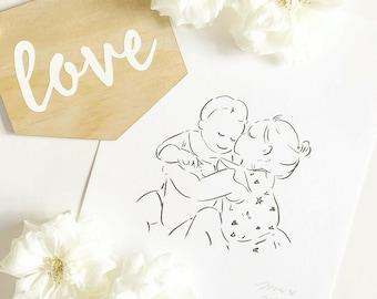 Custom Family portrait,  Custom Portrait, Mother and Child Portrait, Bespoke Illustration, Family Illustration, Family Christmas Gift