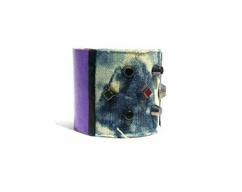 Denim and purple leather cuff