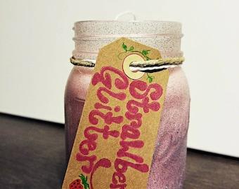 12 oz Strawberry Glitter Mason Jar Soy Candle