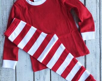 Christmas Pajamas, Monogrammed Pajamas, Red Pajamas, Kids Christmas PJs, Monogrammed