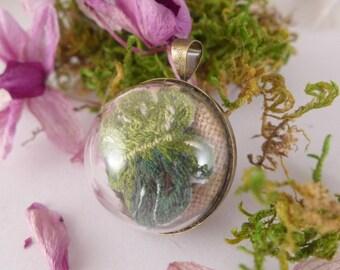 Monster, terrarium, leaf, Necklace embroidered , hand embroidery, embroidery,woodland necklace,terrarium necklace,botanical,glass locket
