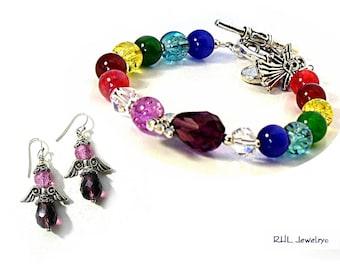 Jewelry Sets, Rainbow Angel Bracelet and Purple Angel Earrings, Glass Beaded Chakra Bracelet, Chakra Colors Angel Sun Catcher - B2013-08E33