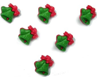 LOT 6 buttons: Bell green/red 17mm