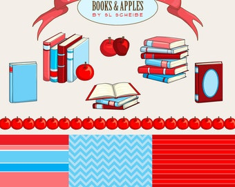 Digital Clipart books and apples red and blue, book set school education digital clip art