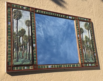 Palm tree tile mirror arts and crafts