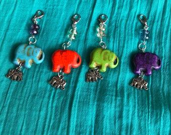 TN charms/Elephants/Silver/Earrings/Purple/Green/Orange/Beige/Journal Jewelry/Journal Bling