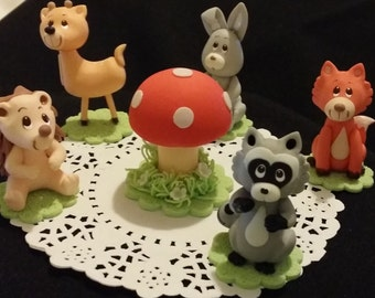 Woodland Cake Topper, Woodland Baby Shower, Woodland Baby Shower Decor, Woodland Baby Shower Decorations, Fox Cake Toppers, Forest Animals