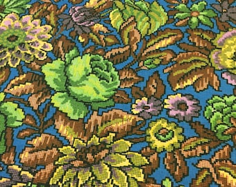 Vintage Floral Fabric. 1/2 yd. Retro Floral Fabric. Digital Fabric. Mid Century Fabric. Upholstery Fabric. Green Floral Fabric
