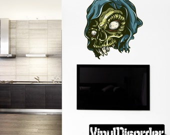 Skull Wall Decal - Wall Fabric - Vinyl Decal - Removable and Reusable - SkullUScolor021ET