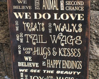 Dog rescue, In this house, Carved wood signs, Animal rescue, Dog lover gift, Rescue mom, Wood sign, In this House we rescue sign