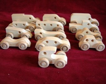 12 Assorted Pine Mini-Vehicles, Unfinished