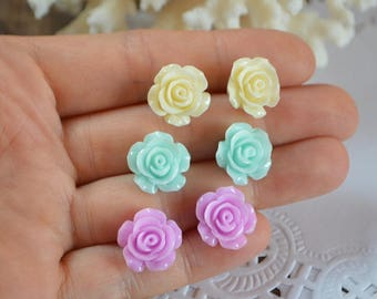 post earrings christmas gift for daughter gift for wife rose earrings tiny stud rose stud ivory earrings mint jewelry flower earrings lilac
