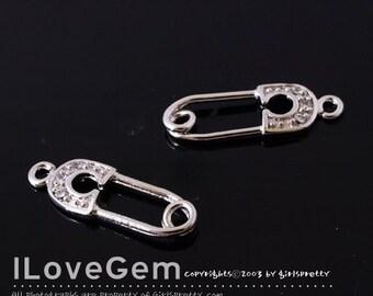 P1754 Rhodium Plated, Safety Pin charm, 4pcs