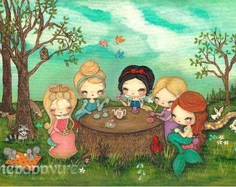 Princess Print Original Art Nursery Children Snow White Princess Tea party