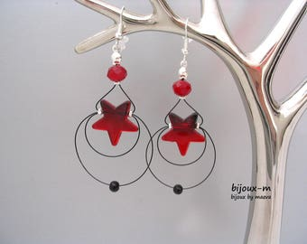 Costume jewelry earrings red and Black Stars