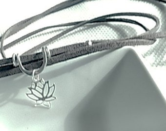 Sterling Silver Lotus Flower Suede Choker, Gift idea for her
